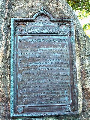 Battle of Trois-Rivières - Plaque memorializing the British forces in the battle in Trois-Rivières.