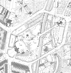Sydney Gardens - Sydney Gardens with canal and railway, published in 1886