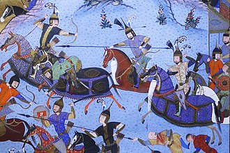 Bagha Qaghan - Shahnameh illustration of Bahram Chobin and Bagha Qaghan fighting