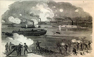 Battle of Trent's Reach - A sketch by Alfred Waud dated February 11, 1865 from Harper's Illustrated showing the Confederate fleet breaking through the boom at Trent's Reach.