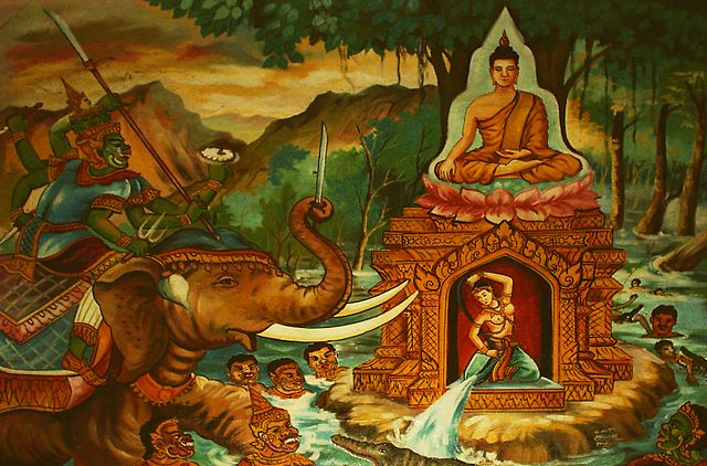 Buddha summoning Phra Mae Thorani to come to his assistance - from Wikimedia Commons