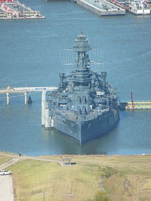 USS Texas (BB-35) - Texas, photographed in 2014 in her berth at the San Jacinto Battleground, near Houston. She is wearing Measure 21 camouflage as she did in 1945.