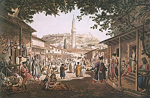 Edward Dodwell - Painting of the bazaar at Athens, by Dodwell.