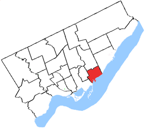 Beaches (electoral district) - Beaches in relation to other electoral districts in Toronto