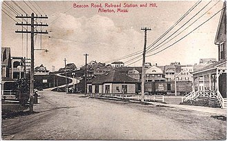 Center of Point Allerton, Massachusetts, the summer resort town where Buel and Powers met Beacon Road (Allerton) station postcard.jpg