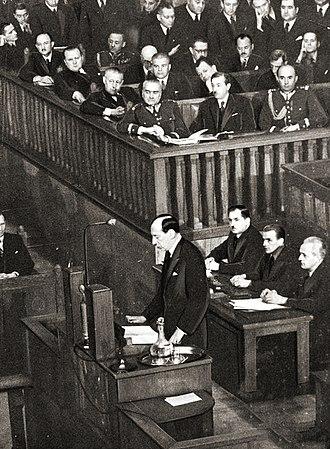 Józef Beck - 5 May 1939—Beck addresses the Sejm, rejecting Hitler's demands.