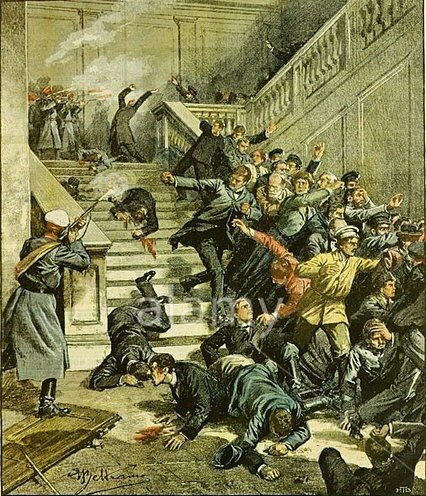 Beltrame, Achille. Massacre at Tiflis City Council building, October 15, 1905.