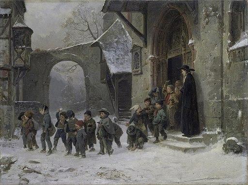 Benjamin Vautier Snow scene (Children leaving school) VA