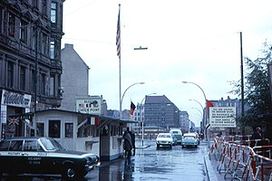 Checkpoint Charlie - A view of Checkpoint Charlie in 1963, from the American sector