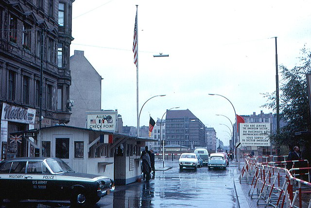 A view of Checkpoint Charlie, as seen in 1963.