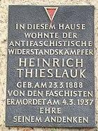 Berlin Warschauer Strasse Gedenktafel Heinrich Thieslauck