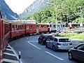 Bernina Railway road-rail river bridge at Campocologno.JPG