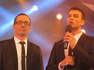 Erez Tal - Tal (left) hosting the Israeli version of Big Brother with Assi Azar in 2008.
