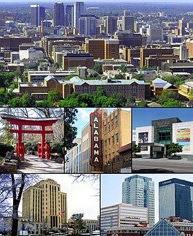 Desde la parte superior izquierda: el centro de Red Mountain;  Torii en el Jardín Botánico de Birmingham;  Teatro de Alabama;  Museo de arte de Birmingham;  Municipalidad;  Centro financiero del centro
