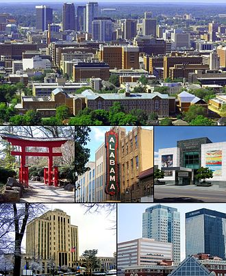 Birmingham, Alabama - From top left: Downtown from Red Mountain; Torii in the Birmingham Botanical Gardens; Alabama Theatre; Birmingham Museum of Art; City Hall; Downtown Financial Center.