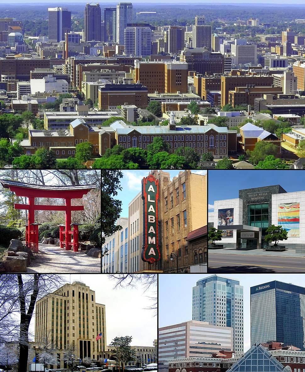 From top left: Downtown from Red Mountain; Torii in the Birmingham Botanical Gardens; Alabama Theatre; Birmingham Museum of Art; City Hall; Downtown Financial Center