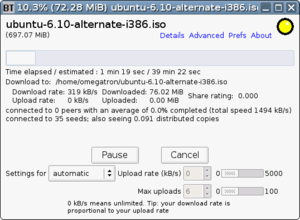 Binary prefix - Image: Bittornado screenshot showing use of IEC and SI prefixes