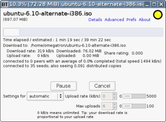 Binary prefix - Image: Bittornado screenshot showing use of IEC and SI prefixes