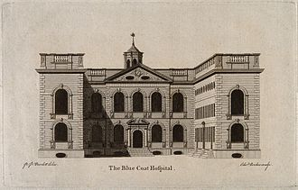 Liverpool Blue Coat School - An engraving of the original school in the city centre
