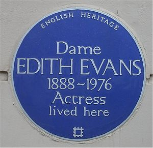 Edith Evans - Blue plaque at Evans's home