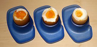 Boiled egg - Boiled eggs, increasing in boiling time from left to right: 4 minutes, 7 minutes and 9 minutes