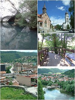 Top left:View of Krvsnica Valley in Una Forest Park, Top right: View of Temple of the Nativity of the Hoply Virgin (left) and City Mosque (right), Middle right:A footbridge in Ade River, Bottom left:Panorama view from Forress of Bosanska Krupa, Bottom right:City view, watermills in Una River