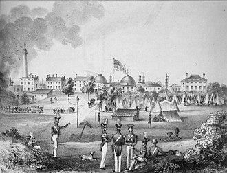 George H. Steuart (militia general) - The Boston Greys encamped in Baltimore, July 1844. Steuart's residence can be seen on the right hand side.