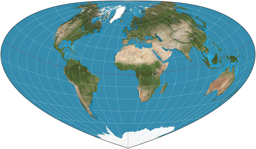 Bottomley projection of the world with standard parallel at 30degN. Bottomley projection SW.JPG