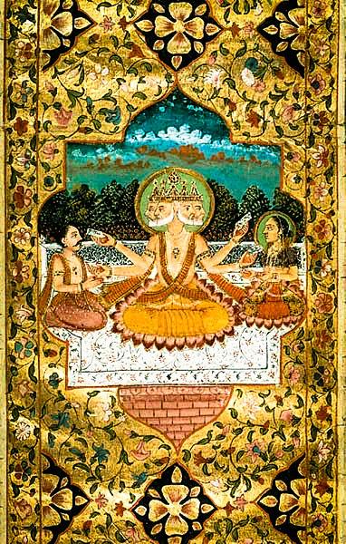 File:Brahma with Sarasvati, a miniature painting, c.1793.jpg
