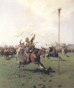 Lisowczycy - Lisowczycy (Archery) – painting by Józef Brandt 1885