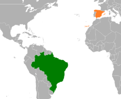 Map indicating locations of Brazil and Spain