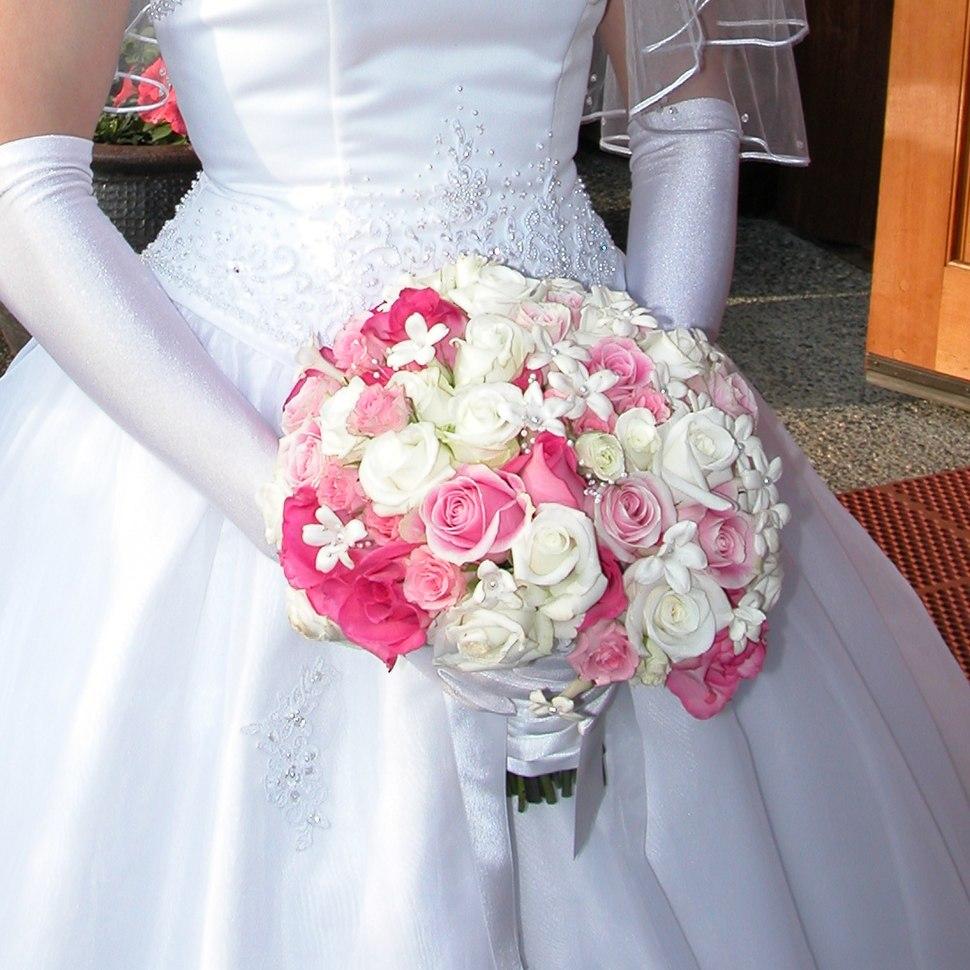 Bridal bouquet white pink rose stephanotis
