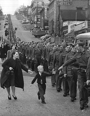 Military history of Canada during World War II - The Wait for Me, Daddy photo of the BC Regiment (DCOR), marching in New Westminster, 1940