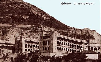 Royal Naval Hospital Gibraltar - British Military Hospital Gibraltar as depicted in a postcard c. 1910.