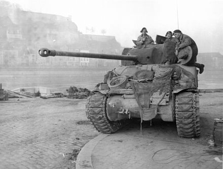 "British Sherman ""Firefly"" tank in Namur on the Meuse River, December 1944 British Sherman Firefly Namur.jpg"