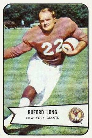 Buford Long - Long on 1954 Bowman football card