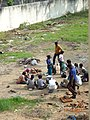 Building laborers food time at work place, Chennai.JPG