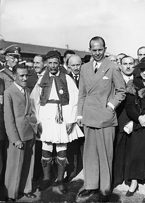 Paul of Greece - Paul of Greece with Spyridon Louis in Berlin, during the 1936 Summer Olympics.