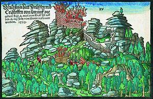 Waldsteinburg - Subsequently coloured woodcut by Hans Wandereisen, 1523