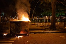 Burning dumpster at George Floyd protests in Washington DC, Lafayette Square.jpg