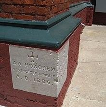 Cornerstone at St. Vincent De Paul Roman Catholic Church, New Orleans, Louisiana (1866)