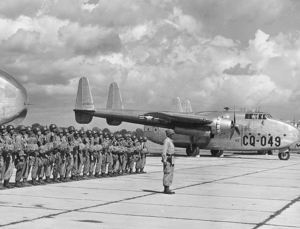 316th Operations Group - 316th Troop Carrier Group C-82 about to airlift paratroops in an exercise. Fairchild C-82A-30-FA Packet serial 44-23049