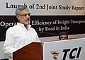 """C.P. Joshi addressing after unveiling the Second report on TCI prepared by IIM, Kolkata on the theme """"Operational efficiency of freight transportation by roads in India"""", in New Delhi on May 31, 2012.jpg"""