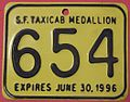 CALIFORNIA, SAN FRANCISCO 1996 -TAXI MEDALLION SUPPLEMENTAL LICENSEPLATE - Flickr - woody1778a.jpg