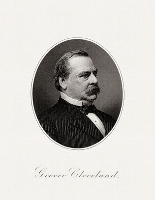 BEP engraved portrait of Cleveland as President.