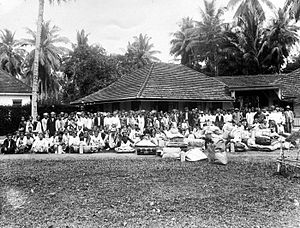 Transmigration program - Javanese contract workers in plantation in Sumatra during colonial period, cirica 1925.