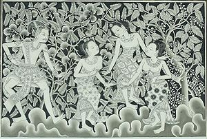 Folklore of Indonesia - Balinese painting of Prince Panji meeting three women in the jungle.