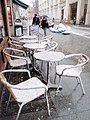 Cafe seats in the snow, Exeter - geograph.org.uk - 1149362.jpg