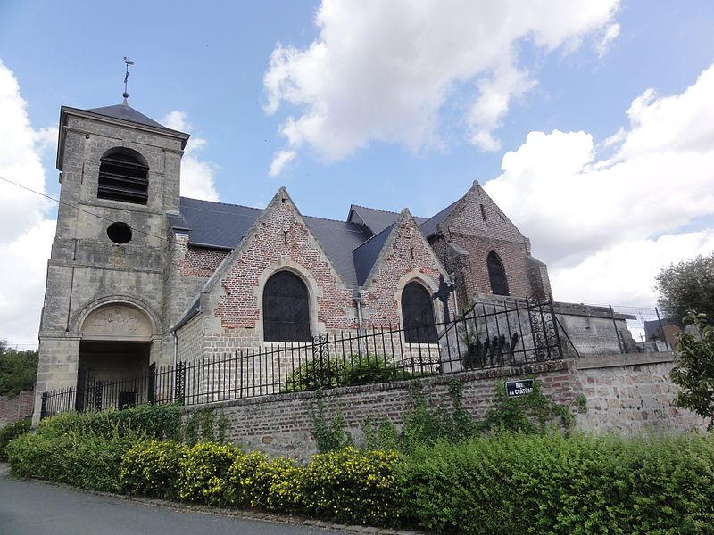 Caillouël-Crépigny (Aisne) église Saint-Pierre, vue du sud