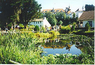 Caldey Island - Caldey Island monastery, reflected in the pond